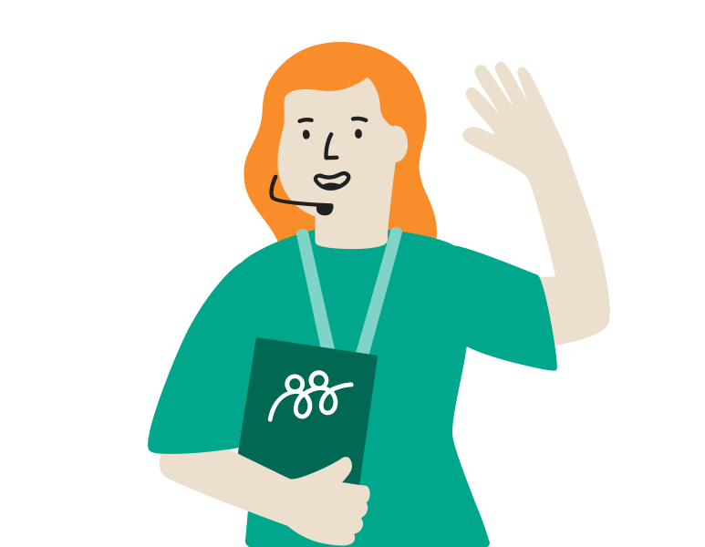 A smiling customer support person